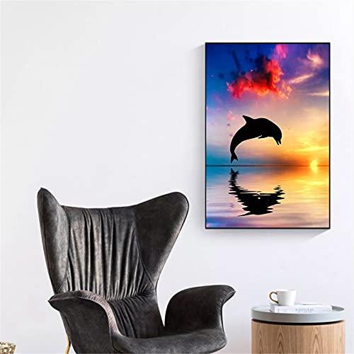 Cuadro en Lienzo con Cartel de delfín Saltando decoración para Sala de Estar Paisaje Marino Puesta de Sol imágenes artísticas de Pared decoración del Dormitorio de la Cocina del hogar-60x80cm