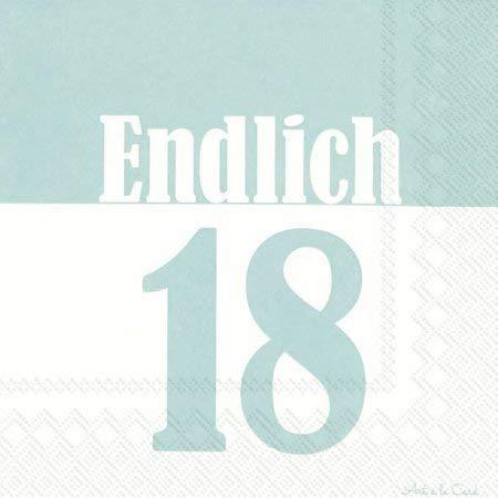 IHR - Ideal Home Range GmbH 18 Geburtstag Serviette Türkis Lebensjahr 20 Stück 3-lagig 33x33cm