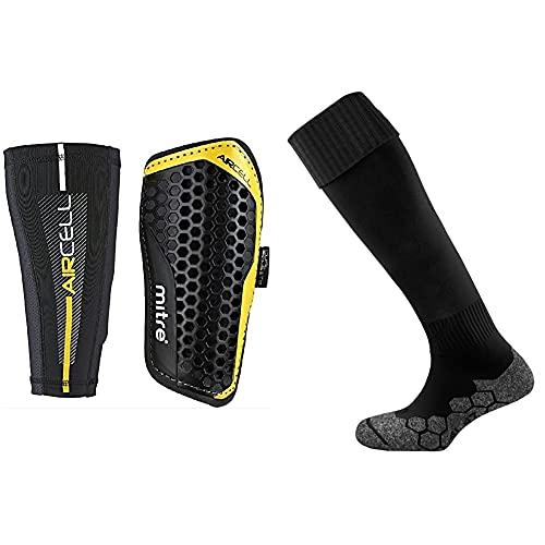 Mitre Aircell Pro Slip with Lock Sleeves Football Shin Pads BlackYellow Large Unisexs Division Plain Football Sock Navy Senior7 12