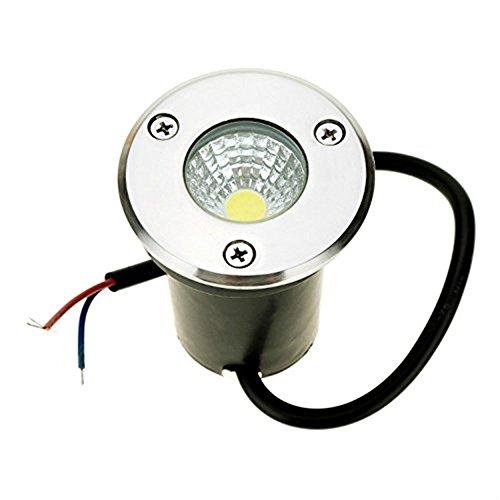 Onerbuy 12V LED COB Underground Path Light Low Voltage Paesaggio Faretti a incasso Faretto decorativo da esterno per giardino, giardino, vialetto, coperta, patio, IP67 Impermeabile (Bianco freddo, 3W)