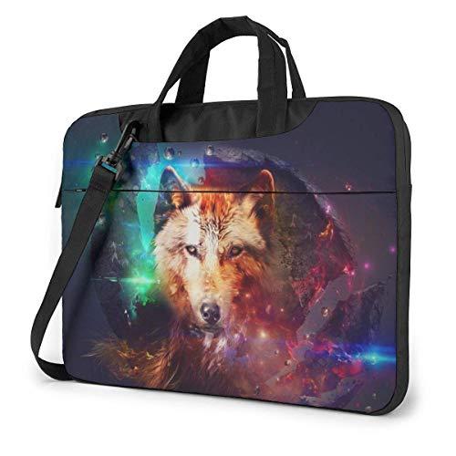 15.6 Inch Funda Bandolera Maletín para Portátil Maletín de Hombro para Negocio Viaje Wolf Sky Star Space