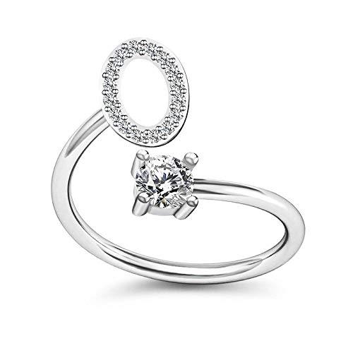 Bungsa® O Ring Buchstabe - Buchstaben Ring Silber mit Kristallen - biegbarer Fingerring/Zehenring Toering für Damen, Kinder & Herren