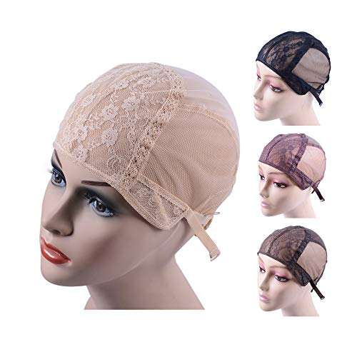 Double Lace Wig Cap for Making Wigs with Adjustable Straps on the Back Swiss Lace Hairnet (Blonde S)