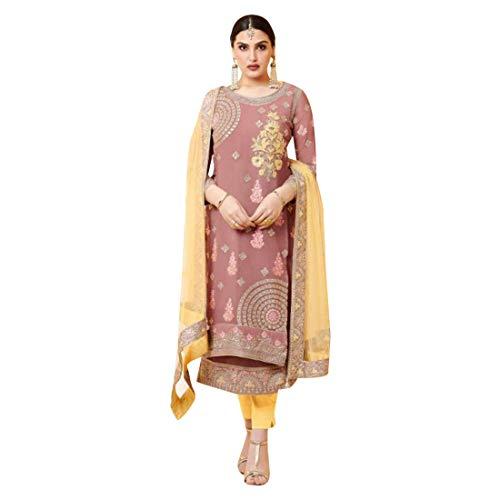 Light Ready to wear Oberteil Fuchs Georgette Sarar Innenhose: Dull SantoonDupatta, weiches Netz (4 seitliche Emb Spitze) gerade, Palazzo Salwar Kameez Anzug Punjabi Muslim 8550