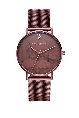 PAUL VALENTINE ® Damenuhr Coffee Marble Mesh Armband Uhr Damen mit rosé goldenen Initialien