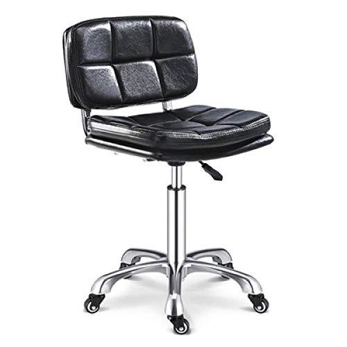 Friseur Stühle mit Rollen,Stehstuhl Höhenverstellbar mit Schwarz PU Kunstleder Bezogener Sitz,höhenverstellbar 48-60 cm,bis 160kg,Make Up Stuhl mit Lehne für Küchen-Dressing-Hocker Gegenhocker, Verst