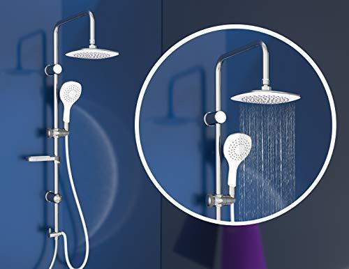 EISL Duschset DUSCHTRAUM Duschsäule mit großer Regendusche 200 x 200 mm und Handbrause, ideal zum Nachrüsten-Nutzung vorhandener Bohrlöcher komplettes Montageset Chrom/Weiß DXLD60087CS