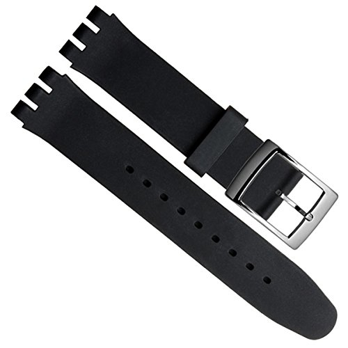 Carcasa resistente al agua correa de reloj de la pulsera de goma de silicona(17mm, Black)S