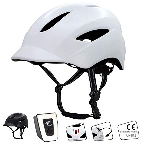 Crazy Safety Casco de Bici para Hombres, Mujeres, niños y niñas | Casco de Bicicleta con luz LED Recargable por USB integrada | Correas Reflectantes para Mayor Seguridad | Casco de Bici Urbana Ligero