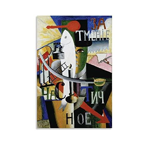shenjin Póster artístico de un inglés en Moscú de Kazimir Malevich pintor ruso en lienzo y arte de la pared, impresión moderna de 40 x 60 cm