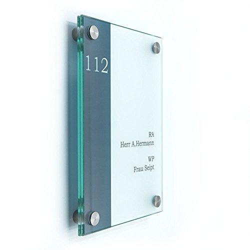Türschild Glas, VITRUM B, DIN A5 mit 4 Edelstahlhalter, Büroschilder