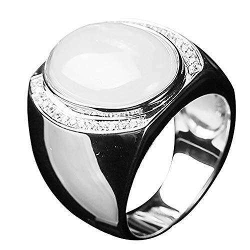 Happyyami Anel de prata de ágata anel vintage anel de pedra preciosa acessório para damas de honra, aniversário de casamento