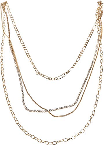 Urban Classics Unisex Valeria Layering Necklace Manschettenknöpfe, gold, one size