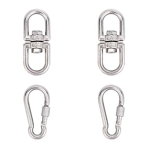 NBEADS 2 Pieces Stainless Carabiner Clip and 2 Pieces Swivel Clasp Set Metal Hanging Snap Hook Clasp for Keychain Rock Climbing Camping Hiking