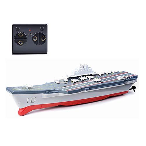 LWXXXA Juguete de Barco de Control Remoto, Modelo Militar de portaaviones, Juguete de Barco de Control Remoto inalámbrico eléctrico de 2,4 GHz para niños y Adultos