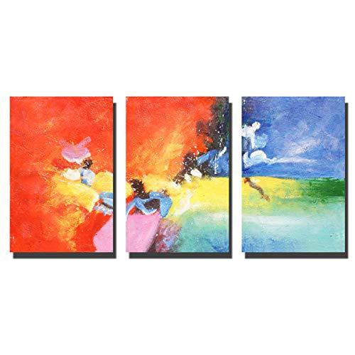 shouli Paintngs | Handgeschilderde olieverf op canvas | Decoratieve schilderijen | Galerij-verpakt 3 Stuk voor Woonkamer Slaapkamer Office Home Decor | Suspensie grootte 24x48inches C-D001-4