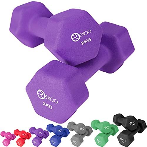 REXOO Neopren Kurzhanteln Hanteln, Gewichte 2er Set Hantelset Fitness Aerobic 2X 2,0 kg lila