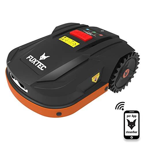Fuxtec Robot Tondeuse Electrique FX-RB022 pour Surface Jusque 800m² - Fonctionne sous la Pluie, Poids 15k kg, Pilotage Auto ou Manuel, par App(iOS&Android) par WiFi