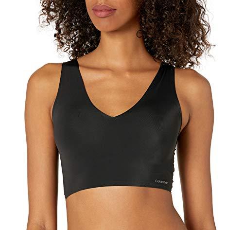 Calvin Klein Women's Invisibles Lightly Lined V Neck Bralette Bra, -black, M