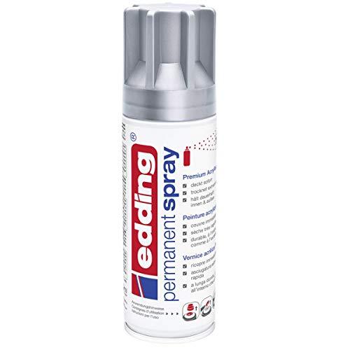 edding 5200 Permanent-Spray - silber matt - 200 ml - Acryllack zum Lackieren und Dekorieren von Glas, Metall, Holz, Keramik, lackierb. Kunststoff, Leinwand, u. v. m. - Sprühfarbe