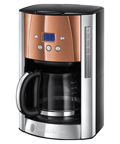 Russell Hobbs, ekspres do kawy z filtrem 24320-56 Luna stal nierdzewna/miedź, programowalny zegar, do 12 filiżanek, szklany dzbanek 1,5 l, płyta grzejna, automatyczne wyłączanie, 1000 W