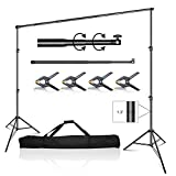 Emart 10 x 10 ft Photo Video Studio Heavy Duty Adjustable Backdrop Support System Kit, Photography Muslin Background Stand with Carry Bag