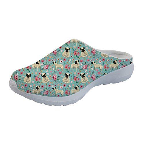 Showudesigns Herren Damen Hausschuhe Pantoffeln Wärme Weiche Herbst und Winter Kuschelige Home rutschfeste Slippers Blume Mastiff - Größe: 37 EU