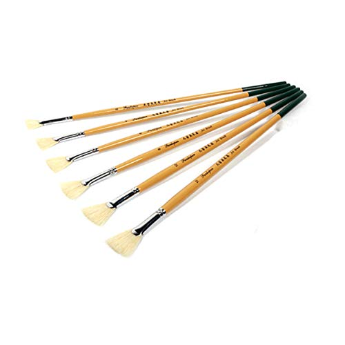 Artibetter Juego de 6 pinceles de pintura al óleo, con forma de abanico, acrílicos, acuarelas, pinceles para dibujar y limpiar el polvo para artistas, principiantes, estudiantes, suministros