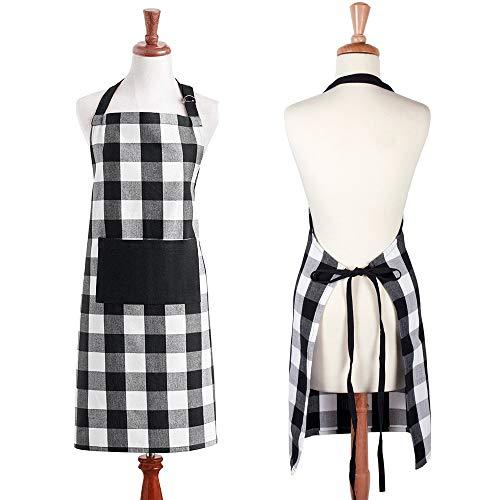 excovip Delantal de algodón a Cuadros,marras en la Cintura y Bolsillos Frontales, A Cuadros Negro Blanco,71×89cm