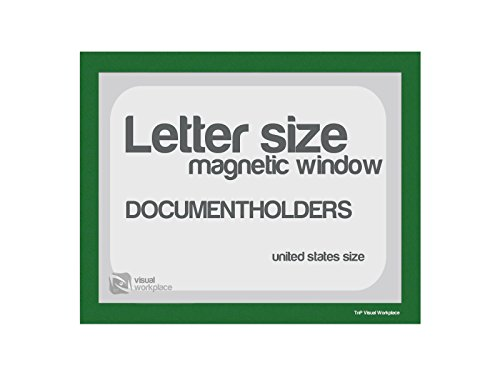 Magnetic Document Holder, Letter incl Cut Out, Green, Pack of 5