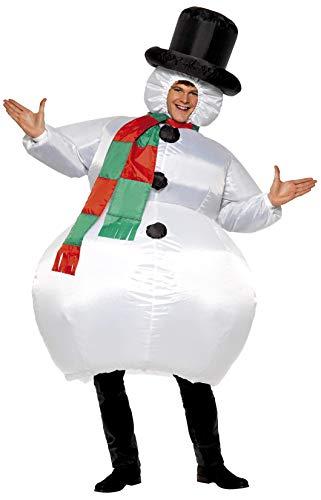 Smiffys Herren Aufblasbarer Schneemann Kostüm, Anzug mit Hut, Schal und selbstaufblasendem Gebläse, One Size, 38155
