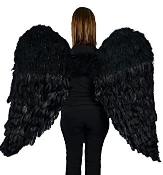 Touch of Nature Black Adult Angel Wings - 52  by 36  - Halo Included - Black Feather Wing - Costume Wings - Large Angel Wings