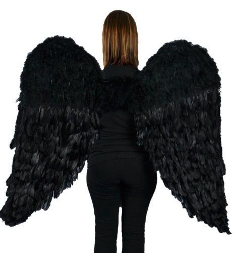 Touch of Nature Black Adult Angel Wings - 52' by 36' - Halo Included - Black Feather Wing - Costume Wings - Large Angel Wings