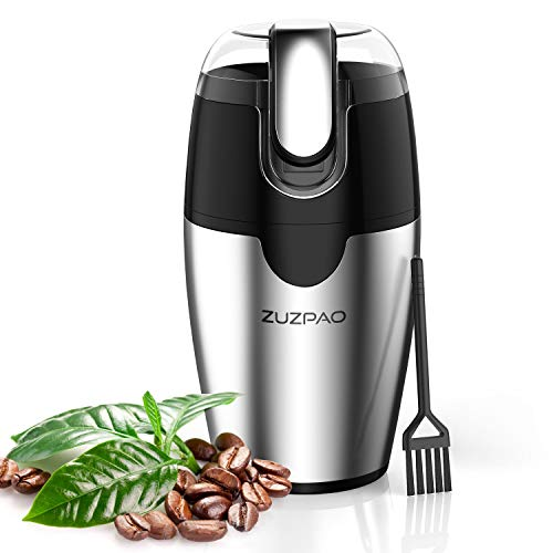 ZUZPAO Electric Coffee Grinder, 200W Stainless Steel Blade Spice Grinder Mills, 2.5 Ounce Capacity Fast Grinding for Coffee Beans, Seeds, Herbs, Pepper, Grains, and Nut