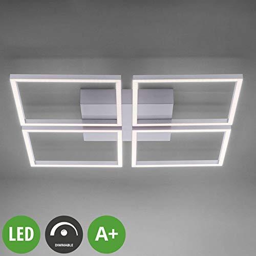 Lampenwelt LED Deckenleuchte 'Quadra' dimmbar (Modern) in Alu aus Edelstahl u.a. für Wohnzimmer & Esszimmer (4 flammig, A+, inkl. Leuchtmittel) - Lampe, LED-Deckenlampe, Deckenlampe, Wohnzimmerlampe