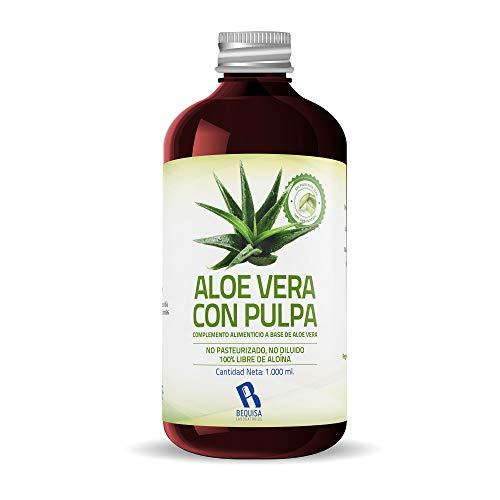 Jus d'Aloe Vera pur | Produit concentré à base de jus d'Aloe Vera avec pulpe - Supplément pour réguler le transit intestinal -Litre