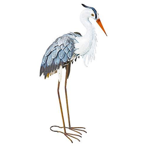 URBNLIVING Decorative Metal Birds Outdoor Weather Resistant Pond Lawn Ornaments and Garden Decor (Heron)