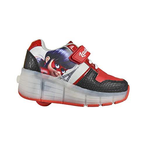 Cerdá Miraculous | Ladybug Mädchen Sportschuhe Turnschuhe Leuchten Roller Schuhe | Fantastische Mädchen LED Schuhe | Rollschuh Design | EU 30 |