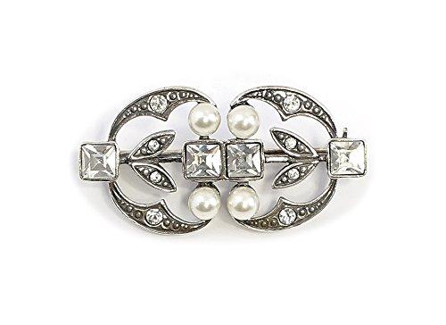 925er Silber Jugendstil-Brosche mit Swarovski-Steinen und Perlen