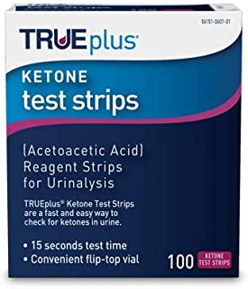 TRUEplus® Ketone Test Strips – Ideal for Low-carb dieters and People with Diabetes – Made in USA–Urinalysis Test Sticks (100)