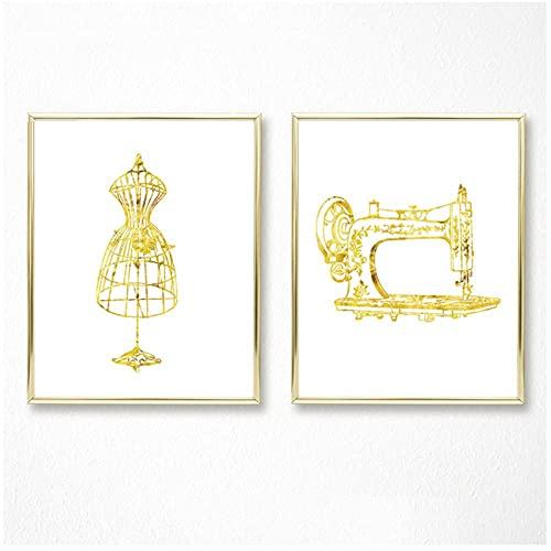 YQQICC Máquina de coser póster artístico maniquí arte de pared lienzo pintura decoración cuadros de pared sala de estar regalos-40x60cmx2 sin marco