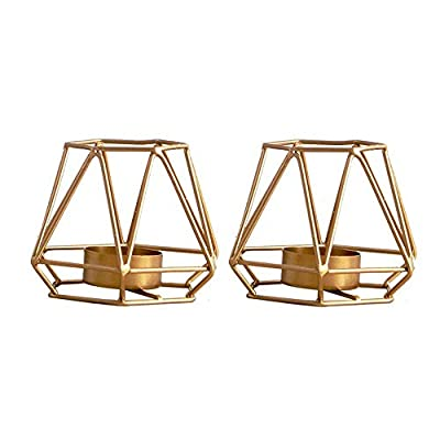Nuptio 2 Pcs Metal Hexagon Shaped Geometric Design Tea Light Votive Candle Holders, Iron Hollow Tealight Candle Holders for Vintage Wedding Home Decoration, Gold (S + S) by Fuzhou cangshan