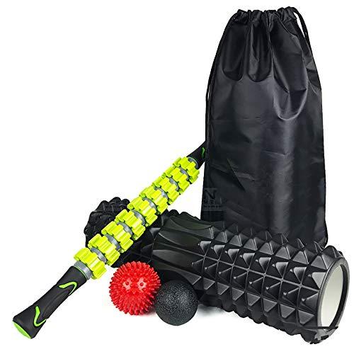 EVFIT Juego de rodillo de espuma de masaje para columnas de yoga, rodillo de masaje, rodillo de espuma, para yoga, ejercicio, fitness, color negro, tamaño: 45 x 14 cm