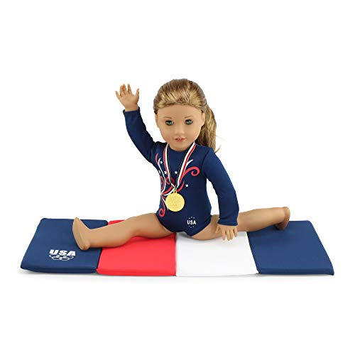 "Emily Rose 18 Inch Doll Clothes | Gymnastics Leotard with Mat and Gold Medal! l Fits 18"" American Girl Dolls"