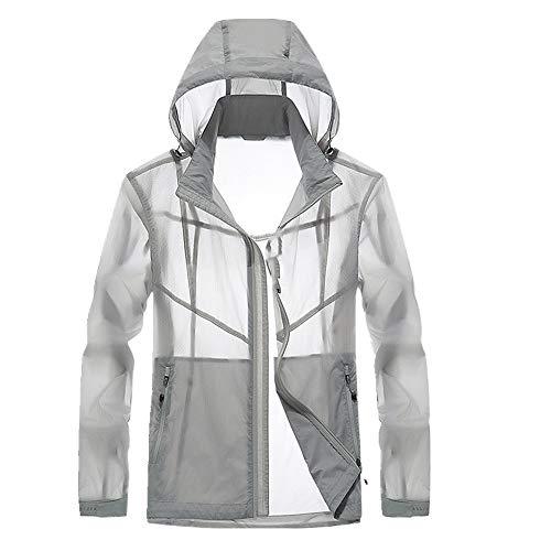 Herren Sonnenanzug Kleidung Dünn Outdoor Sonnenschutz Kleidung Gr. XL, grau