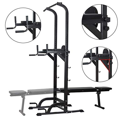 Power Tower Dip Station High Capacity 800lbs w/Weight Sit Up Bench Adjustable Height Heavy Duty Steel Multi-Function Fitness Pull Up Chin Up Tower Equipment for Home Office Gym Dip Stands(White)