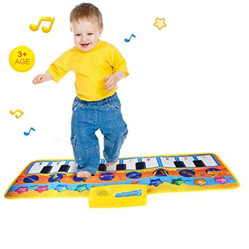 MAQLKC Star Musikmatte Tanzmatte Tierstimmen Spielzeug Musikinstrument Musical Teppich Touch Spiel Keyboard Piano Spielteppich Matte Play Mat Kinder Jungen Mädchen Baby