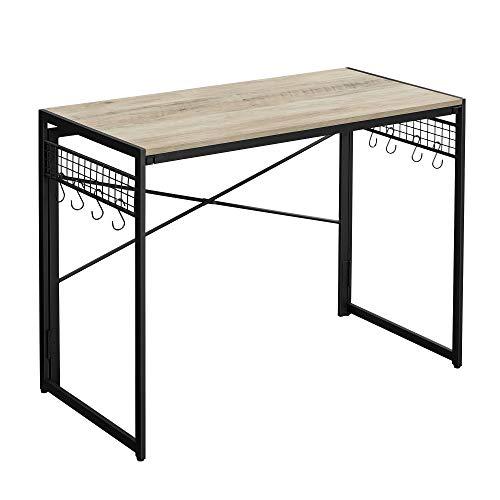 VASAGLE Computertisch, klappbarer Schreibtisch mit 8 Haken, Arbeitsstation, kein Werkzeug erforderlich, Industrie-Design, für Homeoffice, Laptop und PC, Greige-schwarz LWD042B02