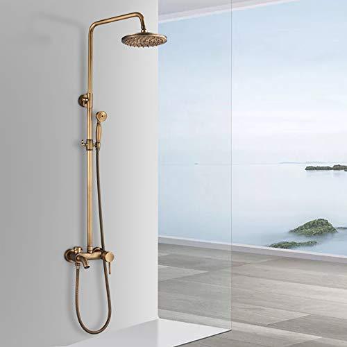 Rozin - Juego de ducha retro con alcachofa de ducha y caño de latón envejecido, altura regulable 80 ~ 120 cm