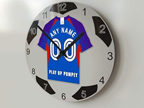 FanPlastic EFL League Fußball-Uhr, groß, Design für alle Teams, Fußball-Uhrwerk !, Portsmouth FC